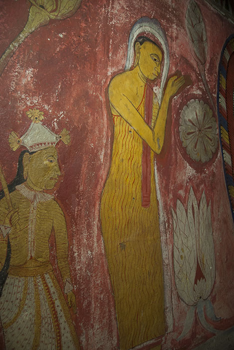 Mural of possibly Sariputta or Mogallana Arahat thera.Bihalpola Raja Maha Vihare. Photo copyright Chulie de Silva.
